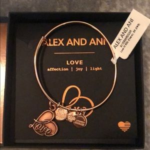 "Rose Gold Alex and Ani bracelet with ""love"" charm"